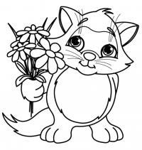 Котенок с цветами Для детей онлайн раскраски с цветами