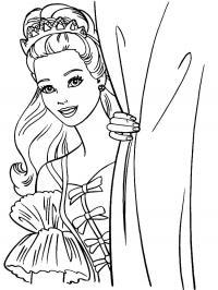 Принцесса за шторам Раскраски с цветами распечатать бесплатно