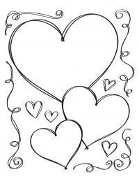 Рисунок сердечки Раскраски с цветами распечатать бесплатно