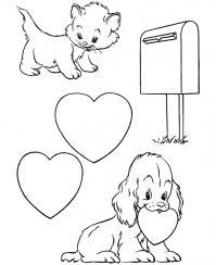 Сердечки, почта Раскраски с цветами распечатать бесплатно
