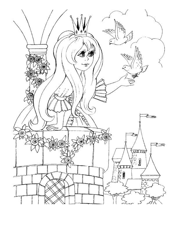 ,принцесса кормит голубей Раскраски с цветами распечатать бесплатно
